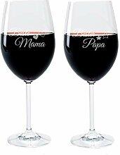 FORYOU24® Weinglas Set mit Gravur Motiv Mama Papa