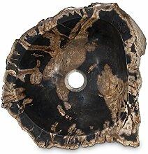 Fossilwaschbecken Waschbecken aus versteinertem Holz Naturstein Stein Becken Fossil Marmorierung Unikat Nr. 1007