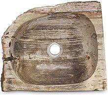 Fossilwaschbecken Waschbecken aus versteinertem Holz Naturstein Stein Becken Fossil Marmorierung Unikat Nr. 987