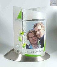 Foto-Hochzeitskerze mit Teelichteinsatz Oval 19/13