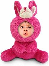Foto Puppe mit eigenem Gesicht - Original 3D-Buddies Fotopuppe - Pink Bunny - Schlüsselanhänger – Geschenkidee zum Geburtstag – Weihnachtsgeschenke