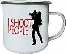 Foto schieße ich Foto-Kamera Lustige Neuheit Neu Retro, Zinn, Emaille 10oz/280ml Becher Tasse k78e
