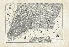 Foto-Tapete - Old City Map New York - Größe