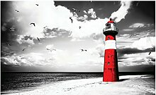Foto Tapete Rot Lighthouse by the Sea Wall Mural (2026ve), rot, 152cm x 104cm (WxH)