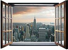 Foto Tapete SKYLINER Urban City Fenster Form Wall Mural nicht gewebt (824vez4), 201cm x 145cm (WxH)