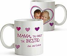 Foto-Tasse mit Aufdruck - Personalisiert mit Namen und Foto – Persönliches Foto-Geschenk für Mama –Kaffeetasse in weiß als Geburtstagsgeschenk – Muttertagsgeschenke