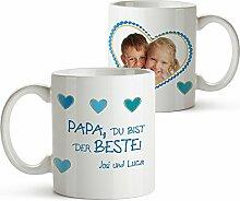Foto-Tasse mit Aufdruck - Personalisiert mit Namen und Foto – Persönliches Foto-Geschenk für Papa –Kaffeetasse in weiß als Geburtstagsgeschenk – Vatertagsgeschenke