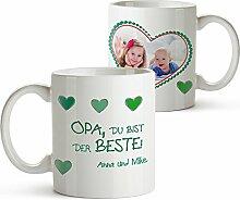Foto-Tasse mit Aufdruck - Personalisiert mit Namen und Foto – Persönliches Foto-Geschenk für Opa – Kaffeetasse in weiß als Geburtstagsgeschenk – Geschenkideen für Großväter