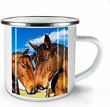 Foto Tier Pferd Paar Weiß Emaille-Becher 10 oz | Wellcoda