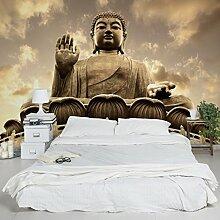 Foto Wand Wandbild–Big Buddha Sepia–selbstklebend Tapete, Funktion, wall-art, Tapeten, Fotografie, Funktion, wall-art, Tapeten, Fotografie, Dimension: 270cm x 432cm