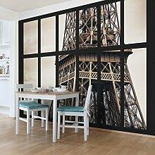 Foto Wand Wandbild–Fenster Eiffelturm Paris–selbstklebend Tapete, Funktion, wall-art, Tapeten, Fotografie, Städte & Reisen, Städte, Paris, Europa, Frankreich, spaziergängen & Ansichten, Dimension HxB: 270cm x 432cm