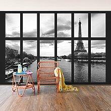 Foto Wand Wandbild–Fenster Eiffelturm seine Paris–selbstklebend Tapete, Funktion, wall-art, Tapeten, Fotografie, Städte & Reisen, Städte, Paris, Europa, Frankreich, spaziergängen & Ansichten, Dimension HxB: 270cm x 432cm