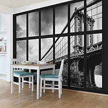 Foto Wand Wandbild–Fenster Manhattan Bridge NY–selbstklebend Tapete, Funktion, wall-art, Tapeten, Fotografie, Städte & Reisen, Stadt, NYC, USA, New York, spaziergängen & Ansichten, Dimension HxB: 270cm x 432cm