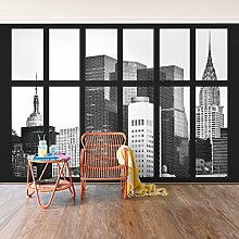 Foto Wand Wandbild–Fenster Manhattan Wolkenkratzer–selbstklebend Tapete, Funktion, wall-art, Tapeten, Fotografie, Städte & Reisen, Stadt, NYC, Skylines, Amerika, New York, spaziergängen & Ansichten, Dimension HxB: 270cm x 432cm