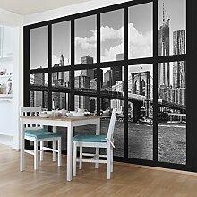 Foto Wand Wandbild–Fenster New York Brooklyn Bridge II–selbstklebend Tapete, Funktion, wall-art, Tapeten, Fotografie, Städte & Reisen, Stadt, NYC, Skylines, Amerika, New York, spaziergängen & Ansichten, Dimension HxB: 270cm x 432cm