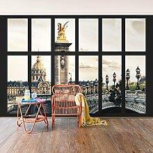 Foto Wand Wandbild–Fenster Pont Alexandre Paris–selbstklebend Tapete, Funktion, wall-art, Tapeten, Fotografie, Städte & Reisen, Städte, Paris, Europa, Frankreich, spaziergängen & Ansichten, Views, Dimension HxB: 270cm x 432cm