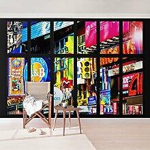 Foto Wand Wandbild–Fenster Times Square New York–selbstklebend Tapete, Funktion, wall-art, Tapeten, Fotografie, Städte & Reisen, Stadt, NYC, USA, New York, spaziergängen & Ansichten, Dimension HxB: 270cm x 432cm