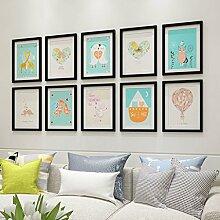 Foto Wandrahmen Holz-Foto-Galerie-Rahmen-Sätze der Wand-Art- und Weiseausgangsdekoration mit verwendbarer Gestaltungsarbeit und Familie, Sätze von 10 Modisches Design ( Farbe : E )