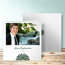 Fotoalben für Konfirmation, Kugelrund 60 Seiten, Hardcover 215x215 mm personalisierbar, Grün