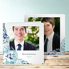 Fotoalben für Konfirmation, Muschelrauschen 28 Seiten, Hardcover 215x215 mm personalisierbar, Blau