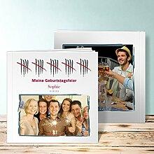 Fotoalbum für 18 Geburtstag, Strichliste 50 88 Seiten, Hardcover 215x215 mm personalisierbar, Weiß