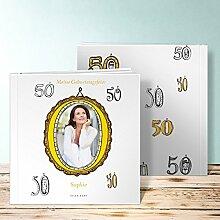Fotoalbum für 18 Geburtstag, Zahlentapete 44 Seiten, Hardcover 215x215 mm personalisierbar, Gelb