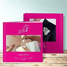 Fotoalbum für Hochzeit, Flatterndes Band 84 Seiten, 42 Blatt, Hardcover 215x215 mm personalisierbar, Ro