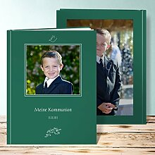 Fotoalbum für Kommunion, Andacht 68 Seiten, Hardcover 234x296 mm personalisierbar, Grün