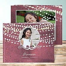 Fotoalbum für Kommunion, Lichterkette 52 Seiten, Hardcover 290x222 mm personalisierbar, Braun
