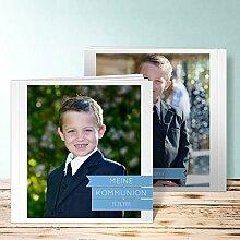 Fotoalbum für Kommunion, Neutral 3 80 Seiten, Hardcover 215x215 mm personalisierbar, Blau