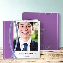 Fotoalbum für Konfirmation, Bedeutung 32 Seiten, Hardcover 215x215 mm personalisierbar, Lila