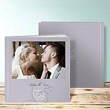 Fotoalbum Hochzeit Design, Liebesbrief 36 Seiten, 18 Blatt, Hardcover 215x215 mm personalisierbar, Grau
