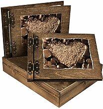 Fotoalbum und Gästebuch mit Kiste Edel Holz für
