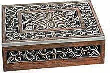 Fotobox Holzbox mit Blumen-Muster Schatulle Fotos