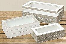 Fotobox Holzboxen 3er Set Geschenkbox Schatulle