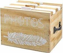 Fotobox Holzkiste, Fotomappe für 120 Fotos,