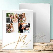 Fotobuch für Hochzeit, Ja! 68 Seiten, 34 Blatt, Hardcover 234x296 mm personalisierbar, Orange