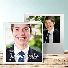 Fotobuch für Jugendweihe, Ausblick Jugendweihe 96 Seiten, Hardcover 215x215 mm personalisierbar, Blau