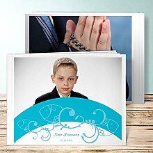 Fotobuch Kommunion Design, Bogen 36 Seiten, Hardcover 290x222 mm personalisierbar, Blau