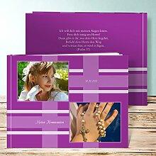 Fotobuch Kommunion Design, Linien 76 Seiten, Hardcover 290x222 mm personalisierbar, Lila