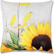 Fotodruck Kissenhülle Kissenbezug mit Motiv, bequem und dekorativ in vielen verschiedenen modernen Designs verfügbar ( Sonnenblume / 40x40cm )