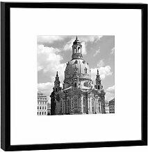 Fotografie im Holzrahmen: Frauenkirche - Kunstdruck - Format 52 x 52 cm - Rahmenfarbe schwarz - Hochwertiges Wandbild, Geschenkidee oder Souvenir aus Dresden