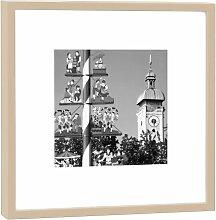 Fotografie im Holzrahmen: Viktualienmarkt - Kunstdruck - Format 52 x 52 cm - Rahmenfarbe beige - Hochwertiges Wandbild, Geschenkidee oder Souvenir aus München
