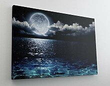 Fotografie Meer Nacht Mond Leinwand Canvas Bild