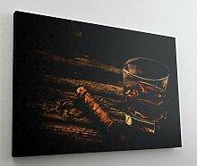 Fotografie Whiskey Zigarre Leinwand Canvas Bild