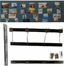 Fotoleine aus Holz mit Strick und Klammern, L ca 70 cm