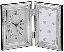 Fotorahmen mit Uhr, gehämmert, versilbert, 9x13 cm