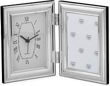 Fotorahmen mit Uhr, glatt, versilbert, 9 x 13 cm