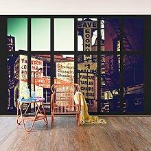 Fototapete–Window View American Gebäuden Fassaden–selbstklebend Tapete, Funktion, wall-art, Tapeten, Fotografie, Städte & Reisen, Städte, Amerika, spaziergängen & Ansichten, Dimension HxB: 270cm x 432cm