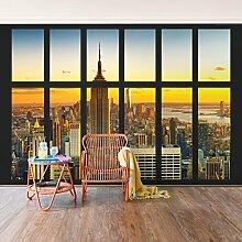 Fototapete–Window View Manhattan Skyline Sonnenuntergang–selbstklebend Tapete, Funktion, wall-art, Tapeten, Fotografie, Städte & Reisen, Stadt, NYC, Städte bei Nacht, Skylines, Amerika, New York, spaziergängen & Ansichten, Dimension HxB: 270cm x 432cm